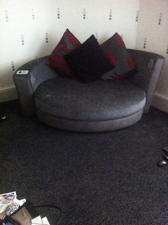 2 seater sofa and curved sofa with ipod