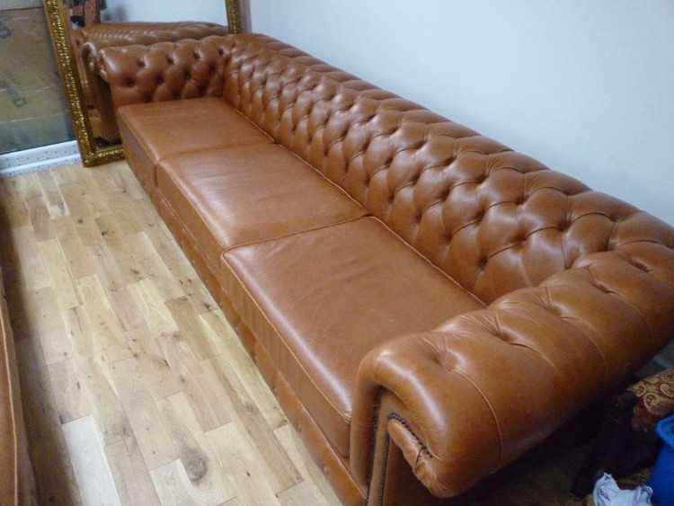 Huge 5 seater tan brown chesterfield sofa 4 meters furniture for Sofa 3 meter