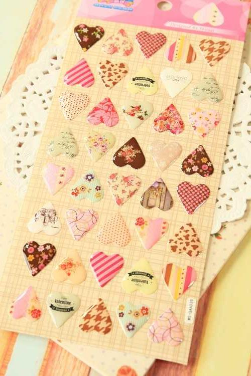 LOVE HEARTS Puffy Stickers