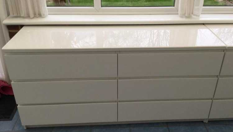 Ikea Friheten Extra Cushions ~ Ikea Chest of 6 Drawers x 2 white with glass tops  Furniture