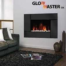 BLACK glass, wall mounted, electric fire